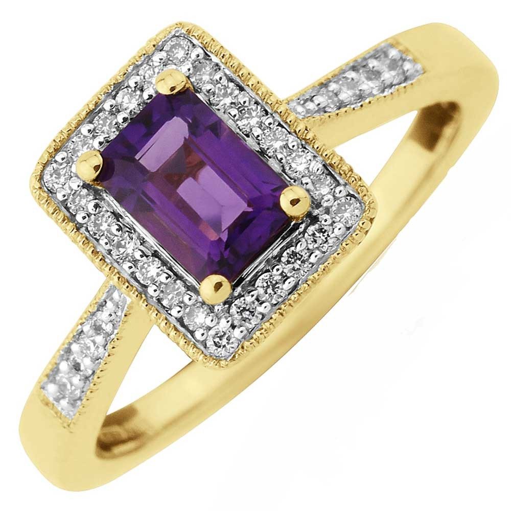 a gold ring featuring a rectangular amethyst stone with a halo of diamonds and diamond-set shoulders