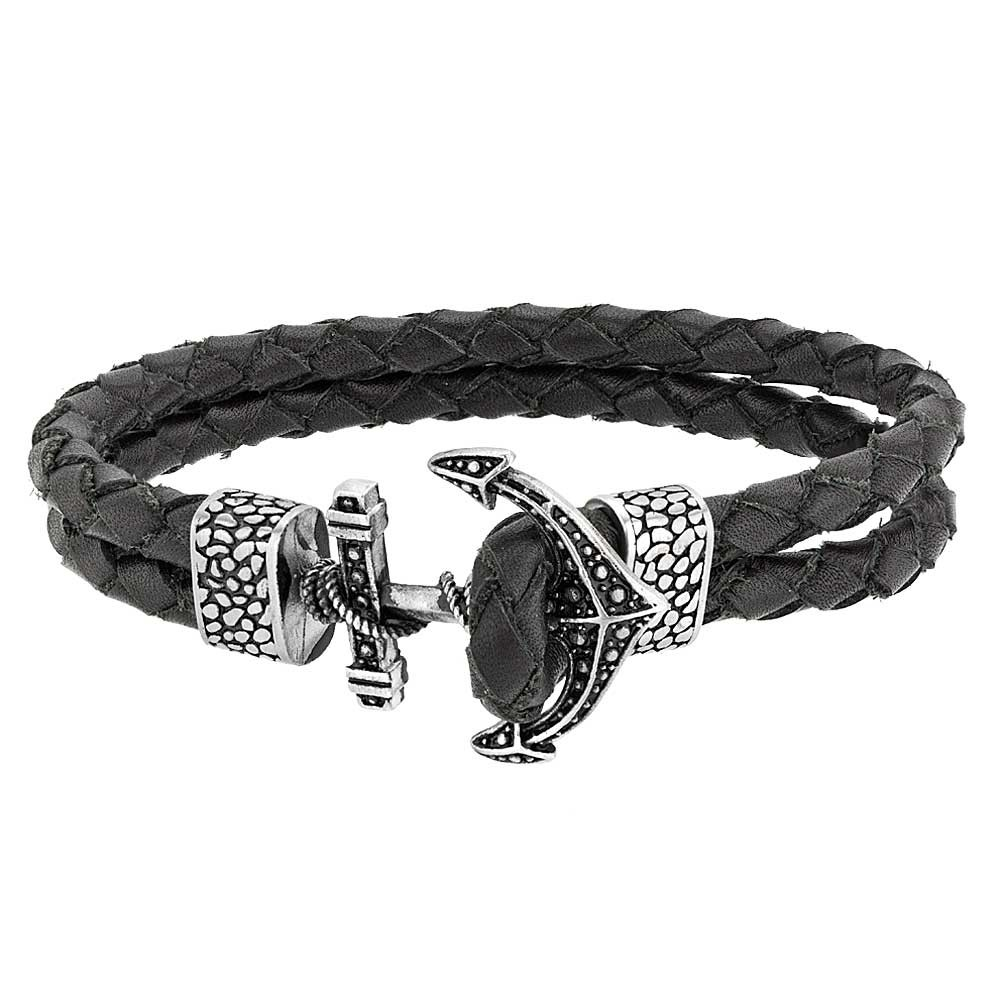 black double leather bracelet with a silver anchor fastening.