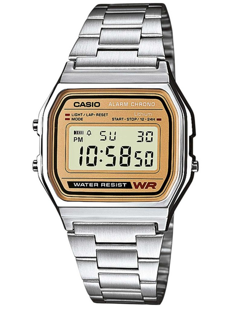 A classic silver Casio digital watch with a gold-coloured oblong face.