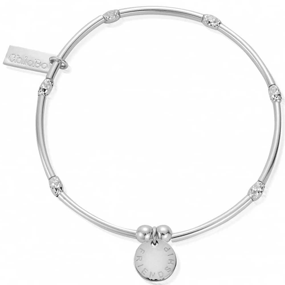 "silver ChloBo bracelet with small sparkle beads and a round ""friendship"" tag"