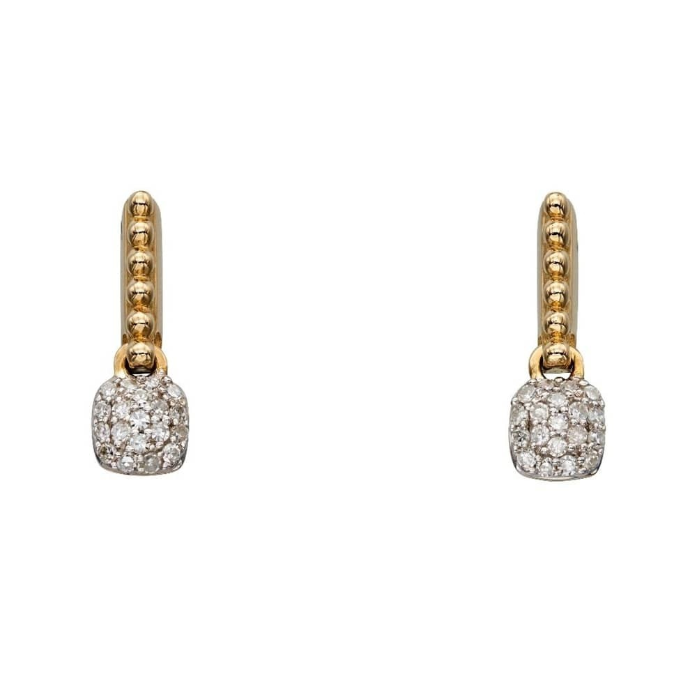 Gold dropper earrings with a beaded design and pave diamonds.