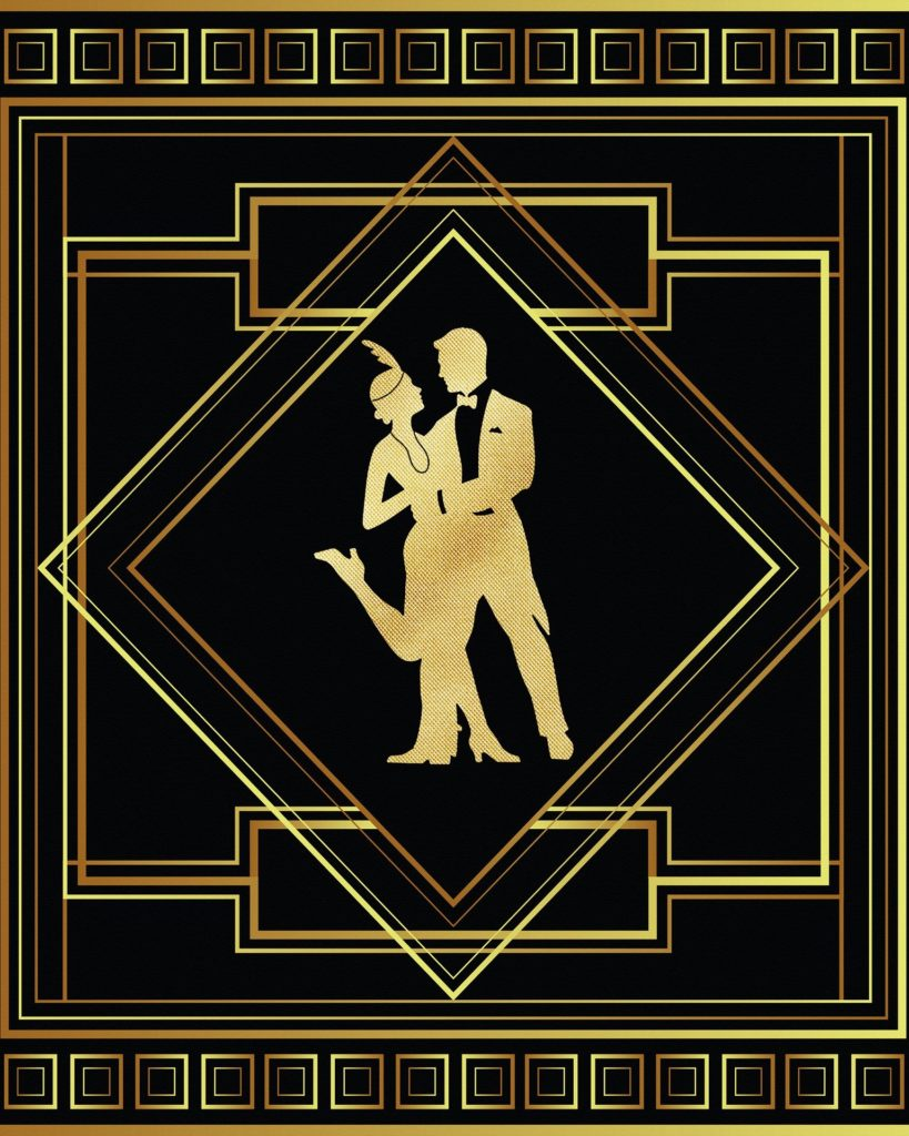 graphic with gold art-deco design on black background, featuring golden silhouettes of two people dressed in 1920s attire