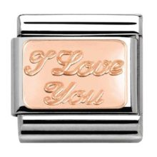 Nomination charm with 'I Love You' set in rose gold
