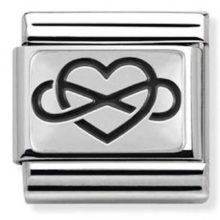 Silver Nomination charm link with a heart and infinity symbol in black