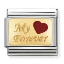A Nomination charm link with 'My Forever' set in gold alongside a red hear