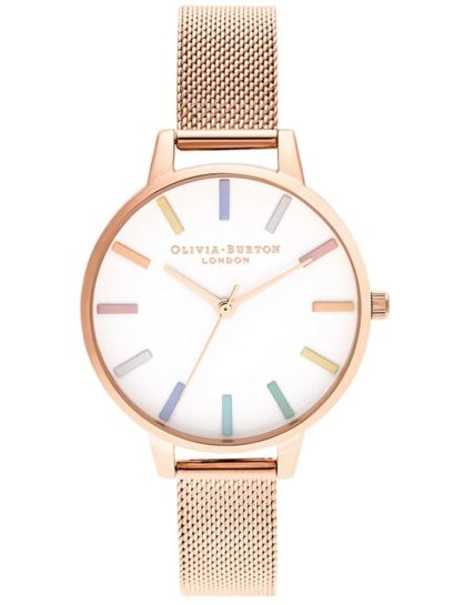 rose gold mesh strap watch with a white dial and rainbow hour markers.