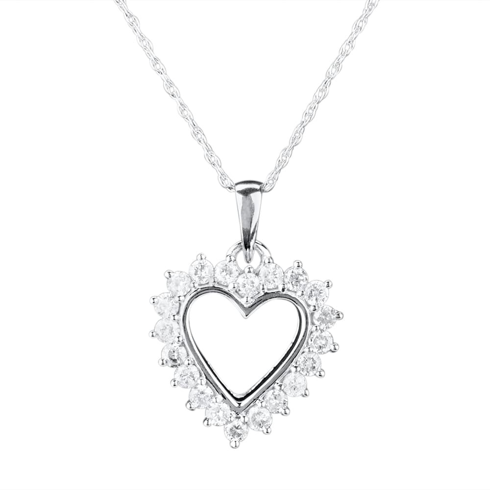 white gold open-heart pendant with diamonds