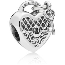 silver heart-shaped ornate lock charm with a dangling key attached to the top