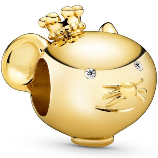 A gold-plated Pandora charm in the shape of  a rat's head wearing a crown, and with cubic zirconia stones for eyes