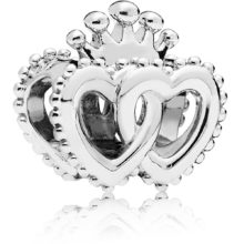 silver pandora charm with two interlinked hearts sharing a crown