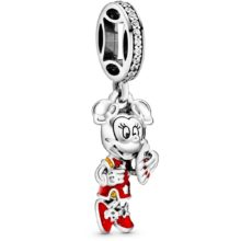 A silver pandora dangle charm with Minnie Mouse wearing a red enamel outfit and holding a fan