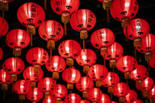 lines of red paper lanterns