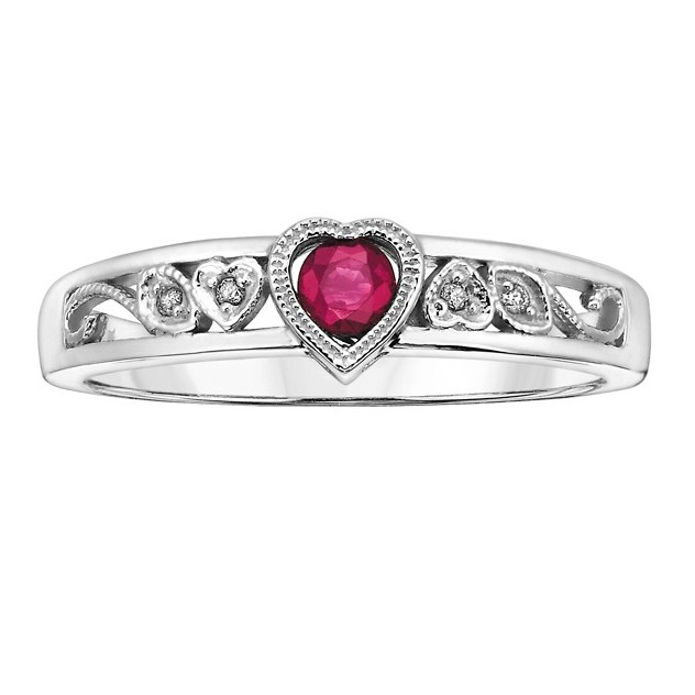 silver ring with rubies and diamonds in heart designs