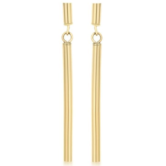 long gold bar dropper earrings