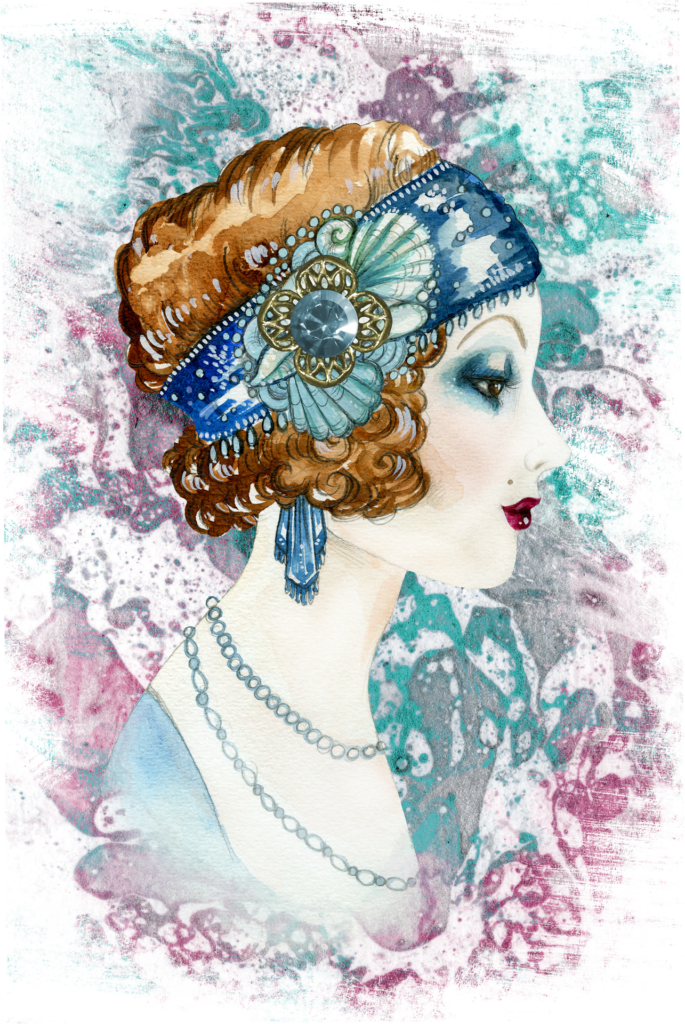 graphic of the profile of a woman wearing a blue flapper headband with rhinestone detailing