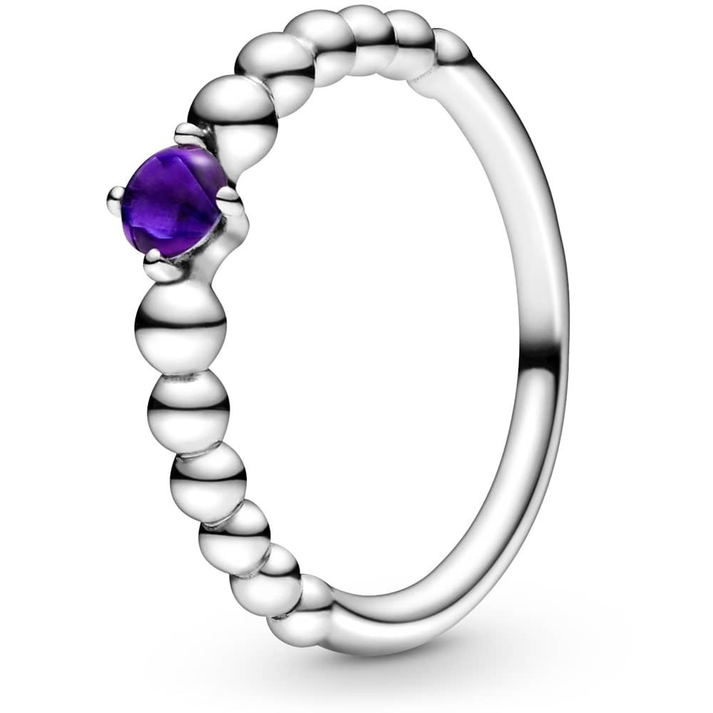 silver beaded-style Pandora ring with a purple centre stone