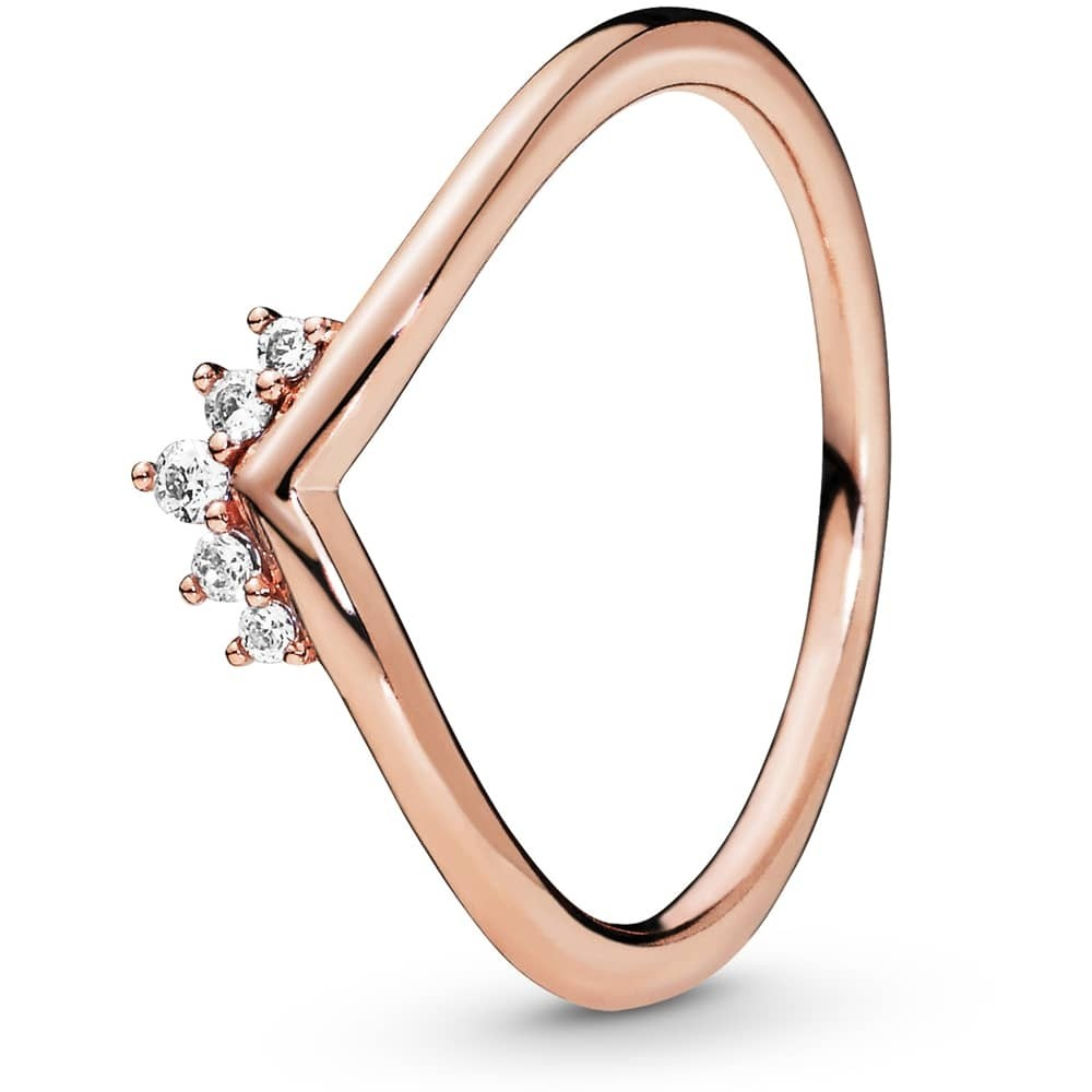 rose tone wishbone ring with a cubic zirconia tiara design